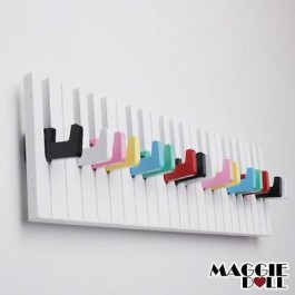 Piano Design Keyboard Coat Clothes Bag Wall Mounted Hanger Multicolored